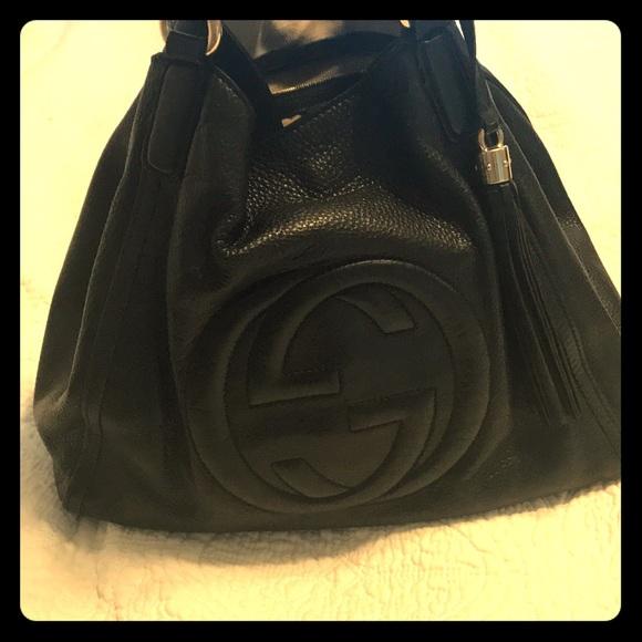 2e49b85ed807 Gucci Bags | Black Leather Soho Bag | Poshmark